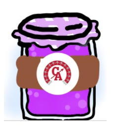 If you find a jar with one of these stickers while out and about in the community in the weeks ahead, it's part of a Canandaigua Middle School poetry project, Poetry Jam. Student Holly Thiel designed the logo.