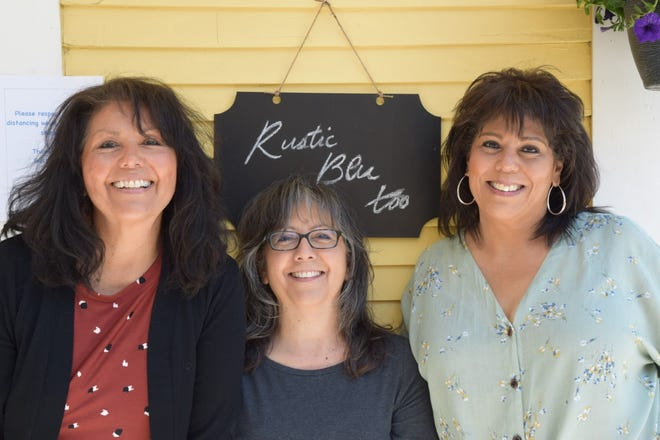 Jennie Shirley, Susan Poague and Angie Mora share with McCloud their family crafts at their new gift shop Rustic Blu Too at the McCloud River Inn B & B.