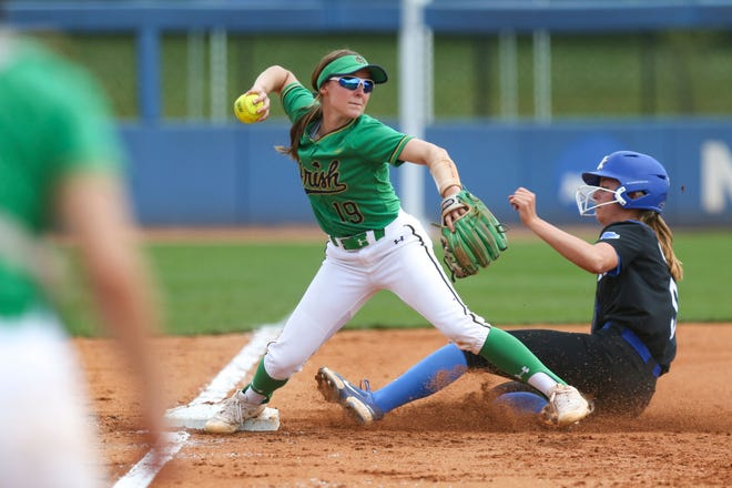 Notre Dame's Cassidy Grimm forces out Kentucky's Tatum Spangler during the NCAA Lexington Regional finals Sunday, May 23, 2021, in Lexington, Ky. Kentucky beat the Irish twice to eliminate them from the tournament.