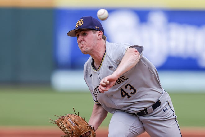 Starting pitcher Will Mercer threw five scorless innings in Notre Dame's 8-0 victory over Virginia Tech on Wednesday, May, 26, 2021, at Truist Field in Charlotte, N.C.