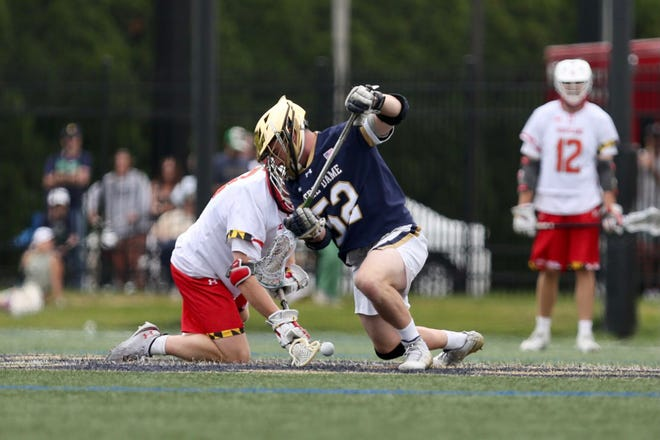Notre Dame's Kyle Gallagher, right, battles a Maryland player during a NCAA quarterfinal game Sunday, May 23, 2021, in South Bend.