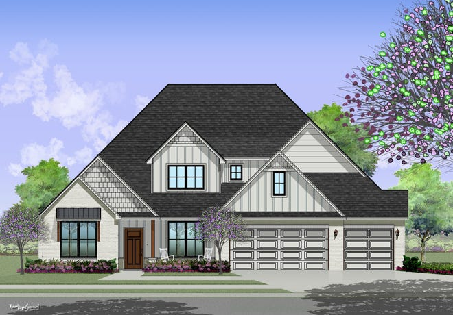 Artist's rendering of the 2021 St. Jude Dream home, under construction by Shaw Homes in Fox Lair Estates at the corner of N Pennsylvania Avenue and Waterloo Road.