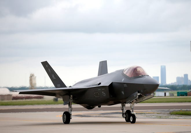 A F-35 Lightning II taxis May 25 at Tinker Air Force Base in Oklahoma City.