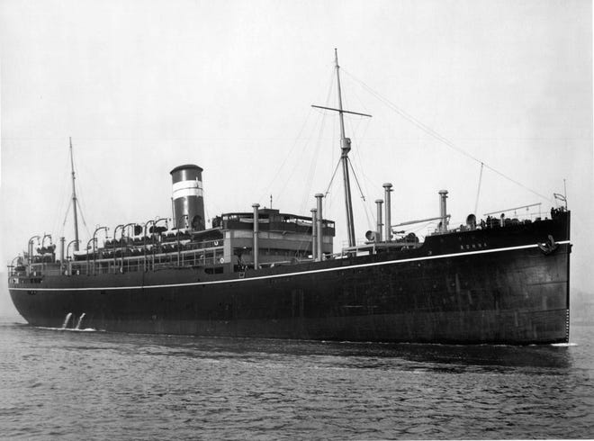 The British transport ship HMT Rohna was sunk Nov. 26 1943 in a German radio-guided missile attack, killing 1,015 U.S. soldiers.