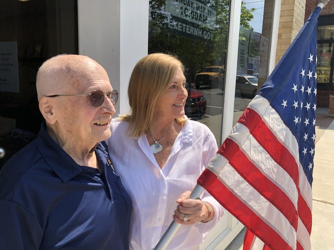 Dick Manix and Florence Ruffner are ready for the Memorial Day Parade. Manix, 86, is this year's grand marshal.