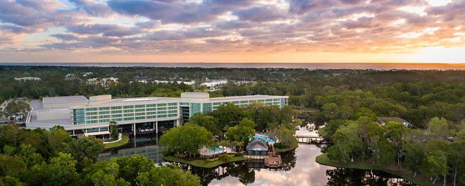 A stay at the Sawgrass Marriott Golf Resort in Ponte Vedra Beach comes with two pools,  access to the beach, and golf privileges at the TPC Sawgrass course.