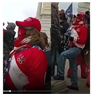 Jody Tagaris of Palm Beach County is captured by a Washington Metropolitan Police Officer's body camera after she was expelled from the U.S. Capitol. Tagaris is seen in the video wearing the same unique U.S. Olympics American Flag jacket and Make America Great Again red hat that was worn by the Defendant while inside the U.S. Capitol.