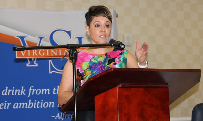 Petersburg native Dr. Jewel Bronaugh makes her first official appearance as USDA Deputy Secretary at Socially Disadvantaged Producer American Rescue Plan Town Hall hosted by VSU on May 26, 2021.