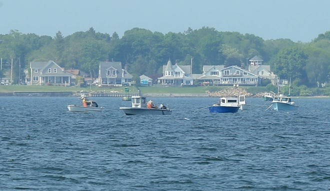 Quahogging from boats on the Providence River in Barrington.