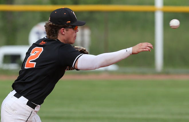 Hoover's Connor Ashby makes a throw during Tuesday's district semifinal against Green at Hudson High School. May 25, 2021.