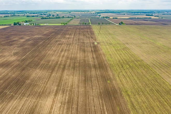 An aerial view of the roughly 2,000 acres of New Carlisle farmland where plans call for a solar farm to be developed.