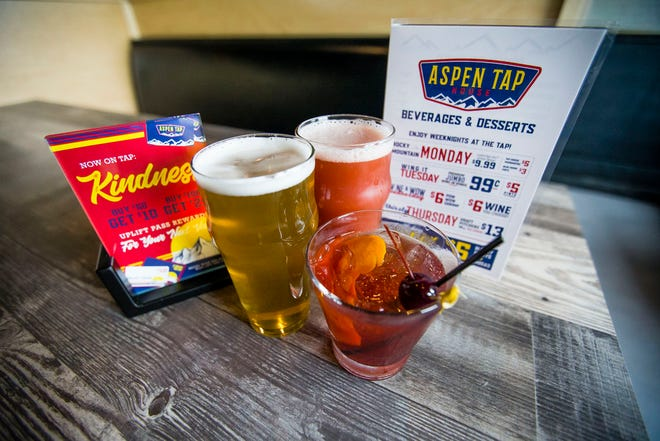 The barrel aged Old Fashioned and draft beers Monday, May 17, 2021 at Aspen Tap House in Mishawaka.