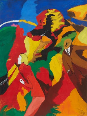 """Robert Colescott's """"Dr. Ehrlich's Magic Bullet,"""" an acrylic on canvas from 1968, is featured in a retrospective of the artist's career at the Sarasota Art Museum. © 2021 The Robert H. Colescott Separate Property Trust / Artists Rights Society (ARS), New York"""
