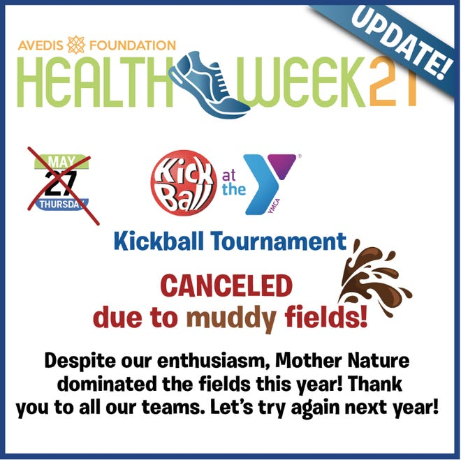 An update regarding a planned Health Week event shows the game has been cancelled.