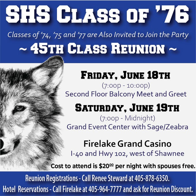 Shawnee High School Class of 1976 will celebrate its 45th class reunion June 18 and 19.