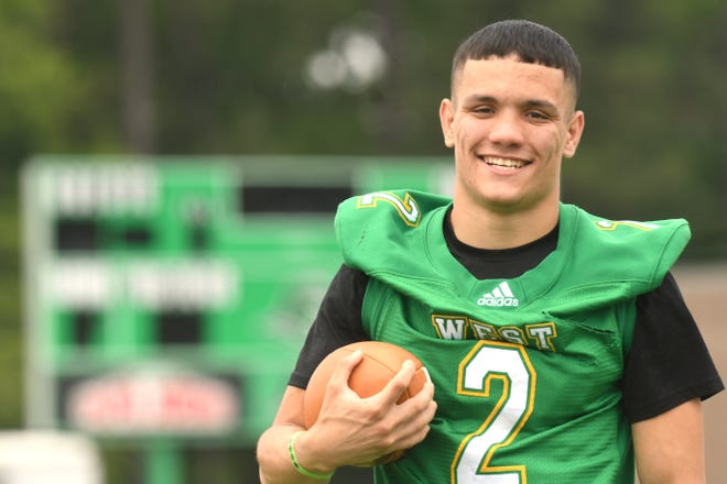 West Brunswick's Monzelle Campbell had 17 total touchdowns in only seven starts for West Brunswick in the winter of 2021, leading him to be the StarNews All-Area Offensive Player of the Year.