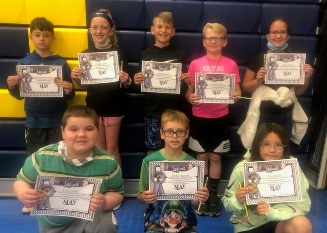 May students of the month at May Overby Elementary School in third through fifth grade are, back from left, Ferran Hernadez Albareda, Andie Timm, Christian Telin, Andrew Bain, Naiya Krause, front row, Ernie Dickey, Ashton Spitzer, Zoey Olson, and, not pictured, Gabe Woods.