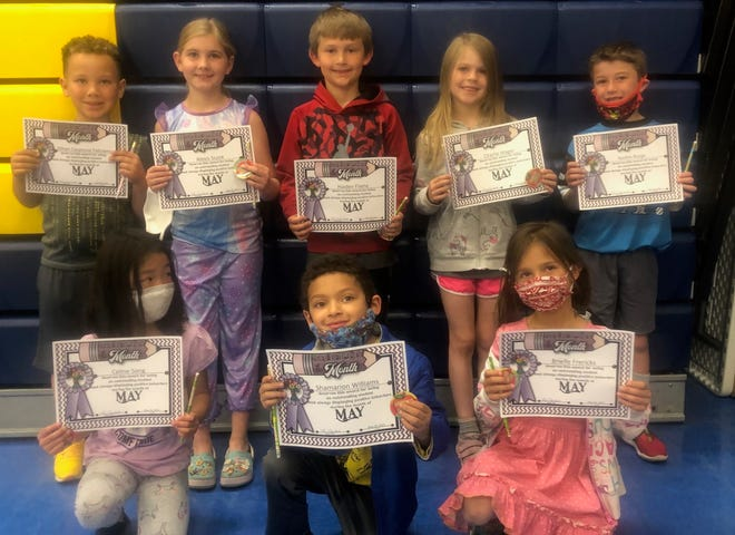 May students of the month at May Overby Elementary School in kindergarten through second grade are, back from left, Ethan Casanova Feliciano, Alexis Score, Haiden Fliehe, Charlie Wager, Korbin Borge, front row, Celine Song, Shamarion Williams, Brielle Frericks, and, not pictured, Scout Schmidt.