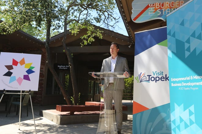 """Sean Dixon, president of Visit Topeka, talks about the Greater Topeka Partnership's new """"Inclusive Topeka"""" campaign Wednesday morning outside The Burger Stand, 2833 S.W. 29th St."""