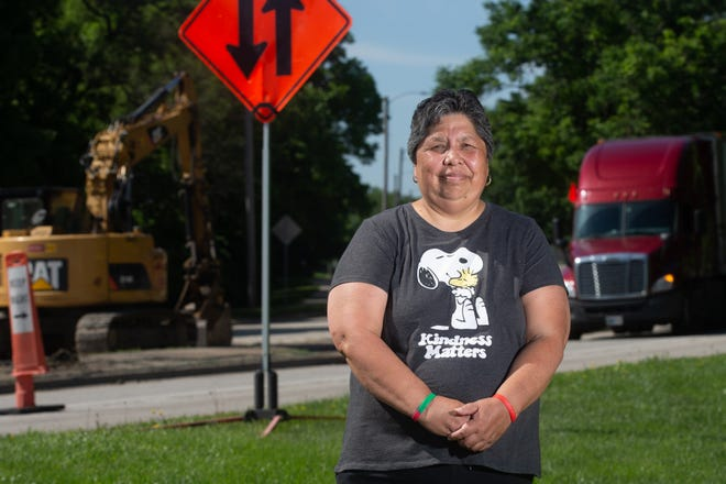 Topeka City Council member Sylvia Ortiz stands in front of the intersection of Deer Creek Parkway and 8th Street to show the construction taking place in her district. Ortiz is running for re-election in District 3.