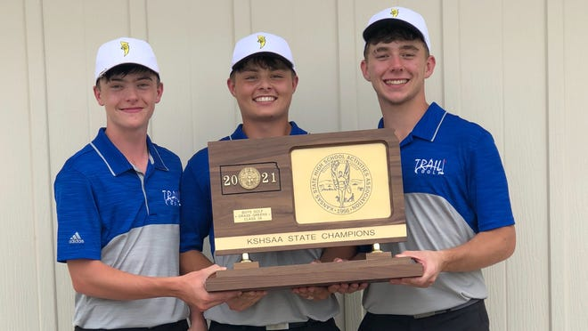 Santa Fe Trail's trio of Lane Workman, Blake Buessing and Tyler Duncan (left to right) medaled in every tournament this season and led the Chargers to the Class 6A state championship. All three were first-team All-Class 3A selections.