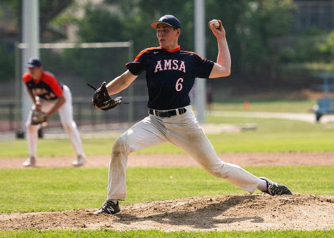 AMSA's Cam Hunt delivers a pitch during the game against Doherty on Wednesday, May 26, 2021. Hunt scored the winning run against Groton-Dunstable in the 10th inning on June 11 while also pitching seven innings with 10 strikeouts.