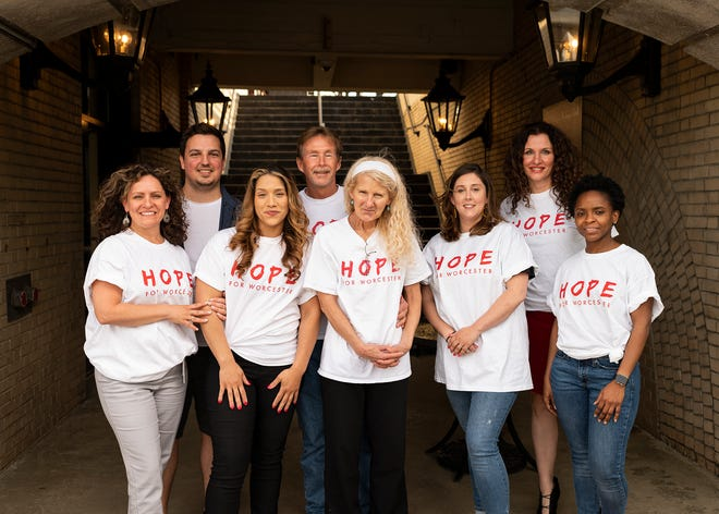 Hope for Worcester volunteers Linda Oldroyd, John-Michael Condon, Shanel Soucy, Stuart Rideout, Lucille Rideout, Kate Deboise, Tanja Hayward and Esther Manu. They are at Union Station, where the group will hold a black-tie fundraiser  June 11.