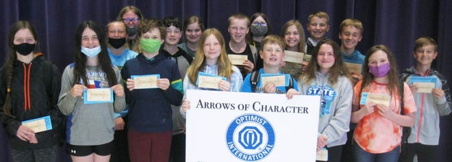 Seventh Grade Arrows of Character for May are (back row, from left), Jersey Peery, Alexa Glines, Lily Shanholts and Carter Briggs; (middle row, left) Ellison Thury, Tyson Canfield, Ty Styles, Addison Mack, Haven Petrich and Evan Gollnick, and front row (left) are   Jocelyn Bucklin, Kynsee Russell, Josia Walsh, Whitney Martinsen, Gavyn Hanson, Dana Greenman, Abby Struckman.