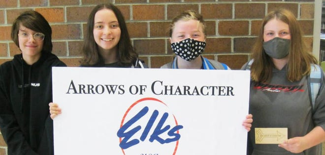 Eighth graders who are Arrows of Character for May at the Watertown Middle School are (from left) Adde Catlette, Madelyn Hage, Vienna Raap and Anna Buus.