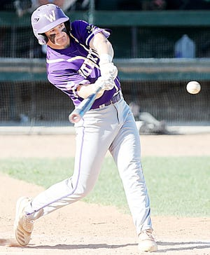 Watertown Post 17's Ben Althoff hits the ball during an American Legion Baseball doubleheader Tuesday night in Aberdeen. Post 17 swept the twinbill.