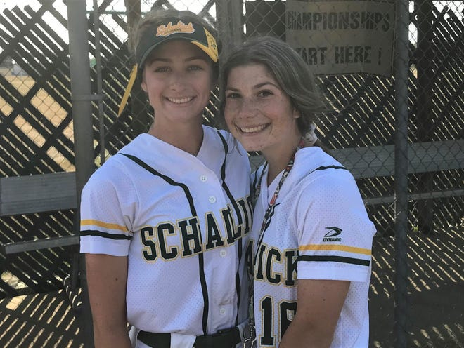 Paige Coleman, left, and April Laury have been a strong 1-2 punch for the Schalick High School softball team's lineup.