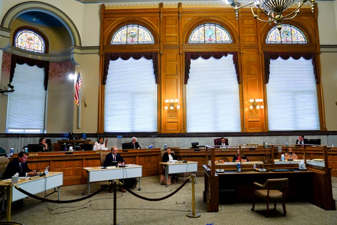 The vote to suspend Cincinnati City Councilmember Wendell Young failed following a vote of six in favor and two abstentions, Wednesday, May 26, 2021, at City Hall in Cincinnati. Seven votes are required to suspend a council member from the body.