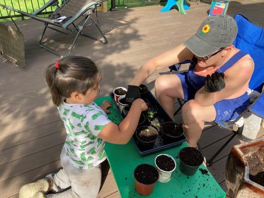 L'editorialista Bonnie Gene Feldkamp e suo figlio Ezra stanno piantando piantine nella loro casa.