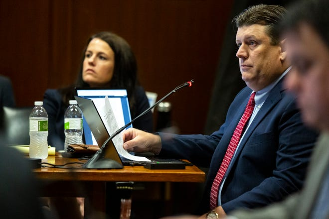 Defense attorney Chad Frese questions a witness during Cristhian Bahena Rivera's trial on Wednesday, May 26, 2021, at the Scott County Courthouse in Davenport, Iowa. Bahena Rivera is on trial after being charged with first-degree murder in the death of Mollie Tibbetts in July 2018.