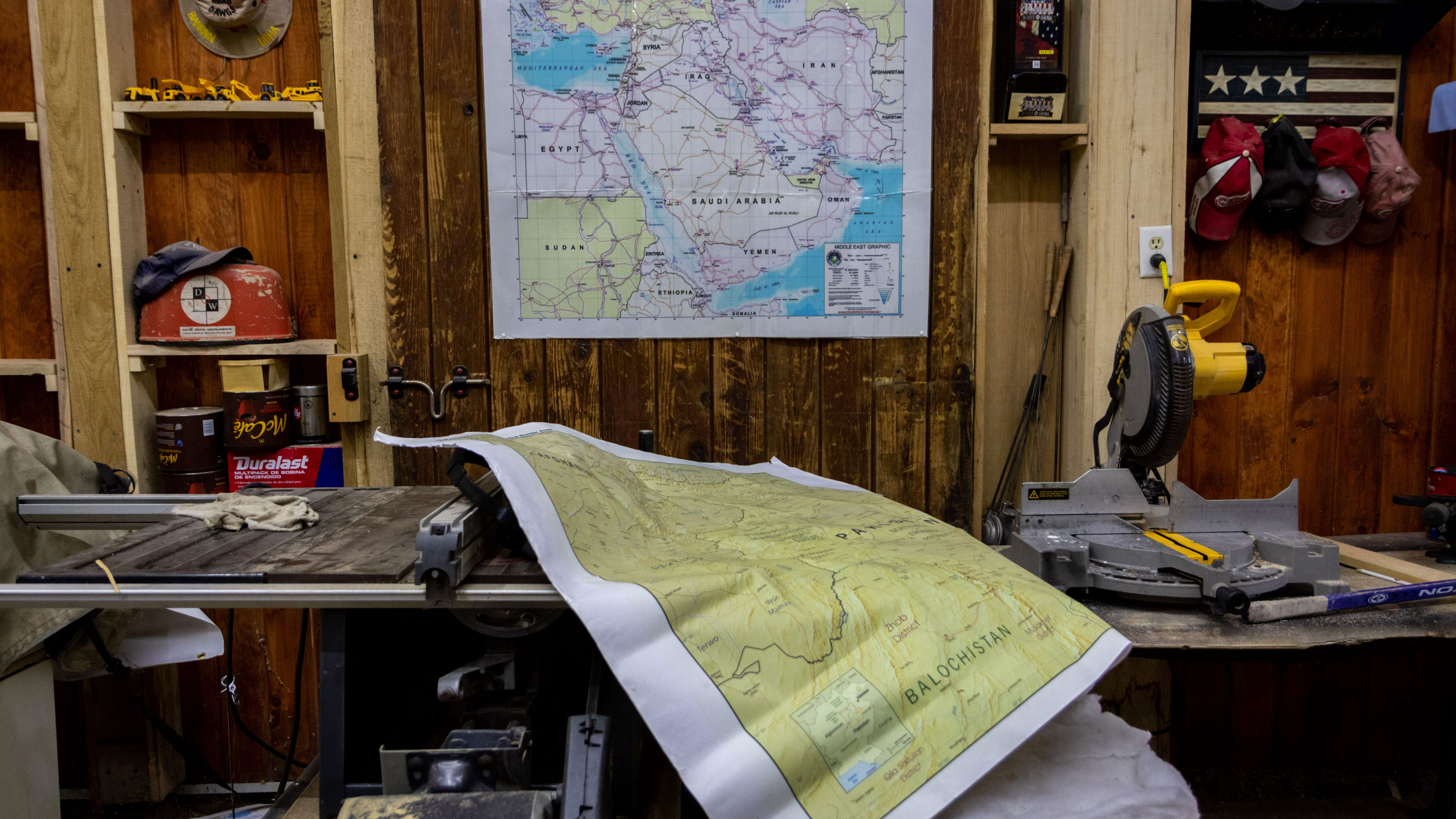 Maps of Afghanistan and the Middle East, boh places where Gerald Keen was stationed, are located in the Keen's shop. The Keen's are on a mission to help Gerald's former Afghan interpreter get a special visa to come to the U.S. before American forces withdraw from Afghanistan by Sept. 11.