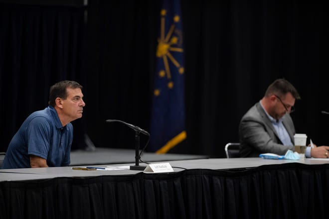 Vanderburgh County Commissioners Jeff Hatfield, left, and Ben Shoulders attend the commissioners meeting at Old National Events Plaza Tuesday afternoon, May 25, 2021.