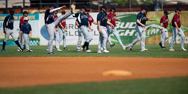 The Evansville Otters run through warmups Tuesday at Bosse Field. They will play the Quebec Capitoles at 6:35 p.m. Saturday in their home opener.