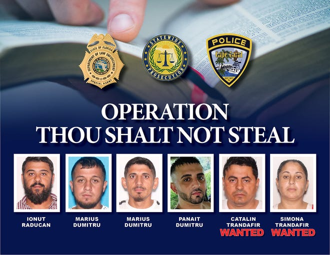 A wide-ranging ring of alleged thieves who stole donations fromchurch mailboxes inLee, Collier and expanded toother Florida counties and nationwide, were discovered after a Cape Coral Police Department detective expanded her investigation into two such cases. The ensuing Florida Department of Law Enforcement investigation, was called Operation Thou Shalt Not Steal.