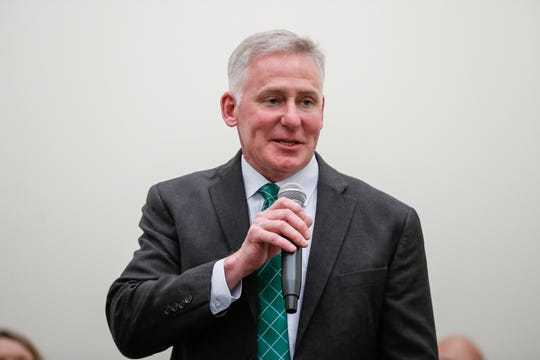 John Atha is named assistant superintendent for curriculum and instruction during a Westfield Washington School board meeting on Tuesday, May25, 2021, at Westfield Middle School in Westfield Ind.