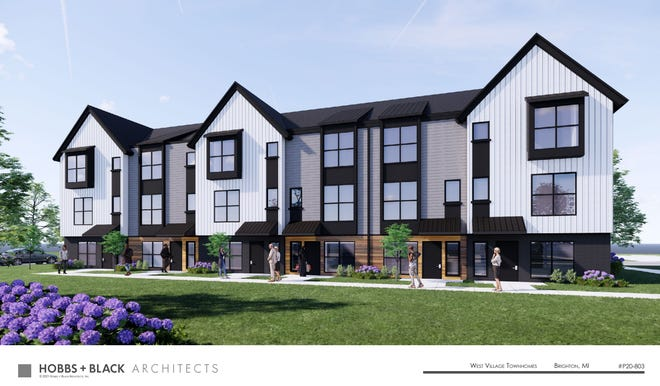 An architectural rendering shows what West Village Townhomes in Brighton would look like. The proposed site of the project currently houses the shuttered Lindbom Elementary School.