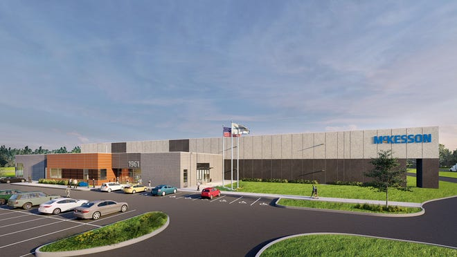 A rendering of the McKesson distribution facility set to open in Holt this fall.