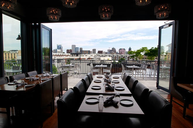 The downtown Milwaukee skyline as seen from the dining room of View MKE, 1818 N. Hubbard St. The restaurant property is for sale; View MKE hasn't been open since November because of the pandemic.