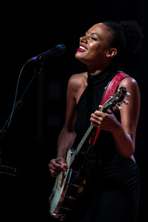 Allison Russell performs during the 2021 Americana Music Association Honors & Awards nomination ceremony at the National Museum of African American Music on Wednesday, May 26, 2021, in Nashville, Tenn.