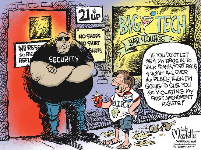 """Marlette cartoon: What if Gov. DeSantis held bars to the same standards he wants to force on """"Big Tech""""?"""