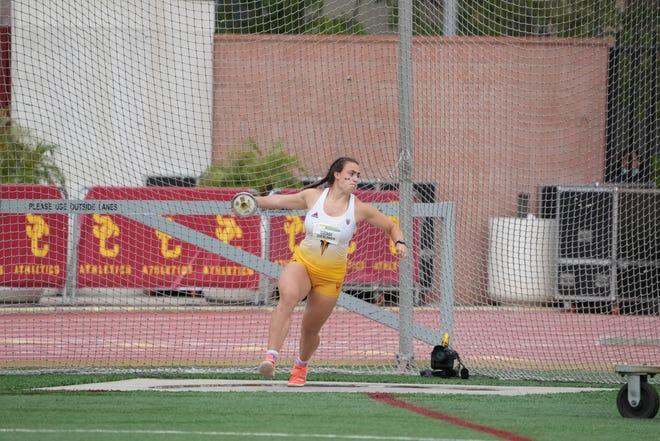 Arizona State's Jorinde van Klinken is the world leader in women's discus for 2021 after throwing 70.22 meters last week at a meet in Tucson.