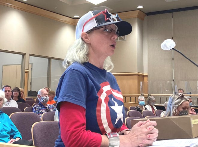Venus Bontadelli of Anderson addresses the Shasta County Board of Supervisors on Tuesday, May 25, 2021, during a discussion on decorum at board meetings.