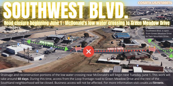 Southwest Blvd. road closure graphic.