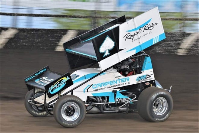 Dusty Zomer in the Ace of Spades sprint car owned by Jud Krull at Huset's Speedway earlier this year.