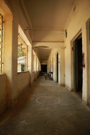 Empty hallways in a state-run school in Kolkata, India, during the COVID-19 pandemic.