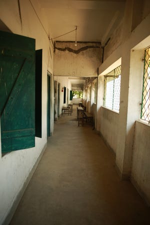 The hallways of a a state-run school in Kolkata, India, were empty during the COVID-19 pandemic